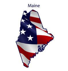 maine full american flag waving in wind vector image