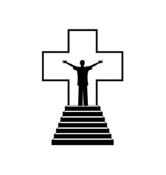 man in the background of the cross of jesus christ vector image