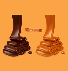 Melted chocolate and pouring caramel sauce 3d vector