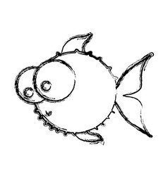 monochrome sketch of blowfish with big eyes vector image