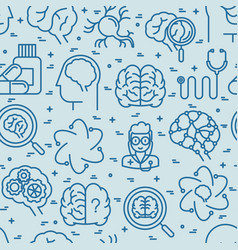 Neurology seamless pattern with thin line icons vector