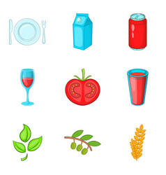 Normal food icons set cartoon style vector