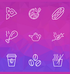nutrition icons line style set with cheese slice vector image