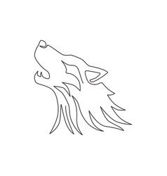 one continuous line drawing dangerous wolf vector image