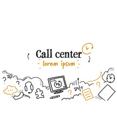 online support service call center concept sketch vector image