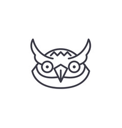 owl head line icon sign on vector image