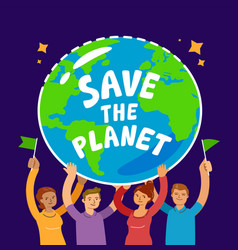 people holding planet earth hands hold globe of vector image