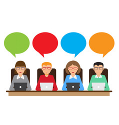 people with speech bubbles and laptop vector image