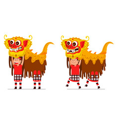 performing traditional balinese lion dancer vector image