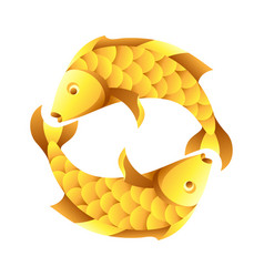 pisces zodiac sign golden horoscope symbol vector image