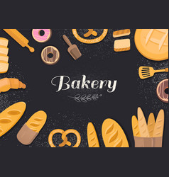 products bakery on black background vector image