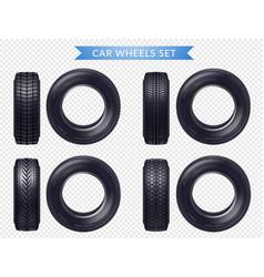 realistic car tires transparent set vector image