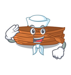 sailor wooden boat in the cartoon shape vector image