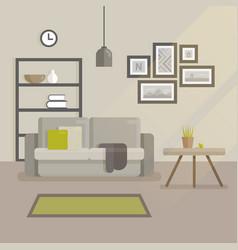 Scandinavian interior design flat modern minimal vector