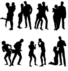 Silhouettes of couple Life steps vector