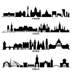 Silhouettes of warsaw vienna prague and dublin vector