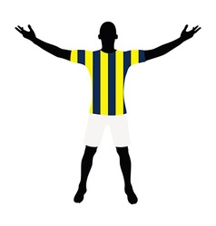 Soccer player silhouette in yellow blue navy vector