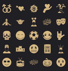 Soulful icons set simple style vector