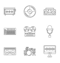 sound studio icon set outline style vector image