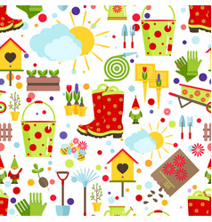 Spring and gardening seamless pattern tools vector