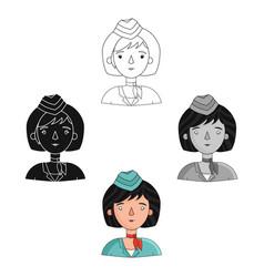 stewardess icon in cartoonblack style isolated on vector image