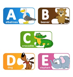 Stickers alphabet animals from A to E vector