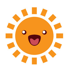 sun funny character icon on white vector image