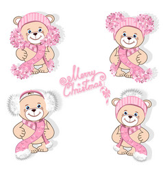 teddy bear in hat set vector image