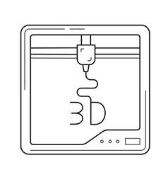 Three d printer app line icon vector