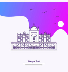 Travel humayuns tomb poster template purple vector