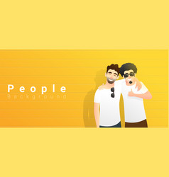 two young happy men standing on yellow background vector image