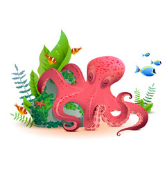 underwater world red octopus and colored fishes vector image