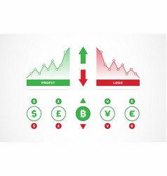 up and down trading charts and currency icons vector image