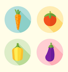 vegetables flat style round icons with long shadow vector image