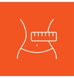 Waist with measuring tape line icon vector