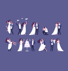 wedding couples bride and groom on marriage vector image