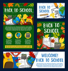 Welcome back to school greeting banner design vector