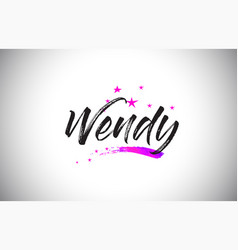 Wendy handwritten word font with vibrant violet vector