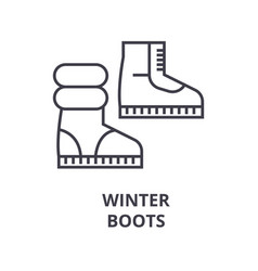 winter boots line icon outline sign linear vector image