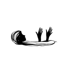 Woman need help person drown in problems hand vector