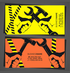 wrench in hand repair business card vector image