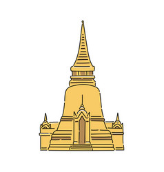 Yellow thailand temple - flat isolated icon vector