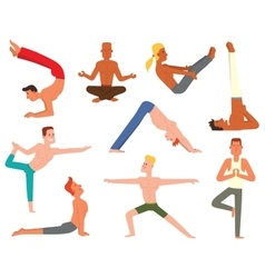 Yoga man set vector image