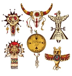 Ethnic american totems colored set vector image