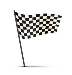 Finish flag on a pole with shadow vector image