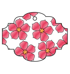label flower sakura culture traditional pattern vector image vector image