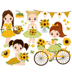 set with cute little girls and sunflowers vector image vector image