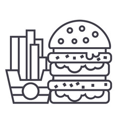 fast foodburger and fries line icon sign vector image vector image
