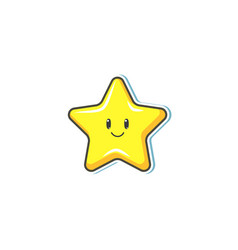 flat cartoon star with smiling face vector image