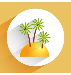 flat icon of palm tree on sand beach vector image